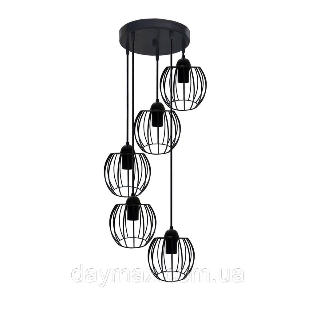 Подвесная люстра на 5-ламп BARREL-5G E27 на круглой основе, чёрный