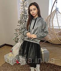 Красивый комплект для девочек - платье , юбка и свитшот TM Madlen Размеры 140-164