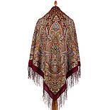 Терем расписной 1810-6, павлопосадский платок шерстяной (двуниточная шерсть) с шелковой вязаной бахромой, фото 3