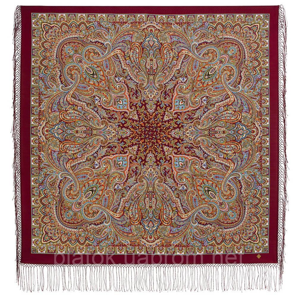 Терем расписной 1810-6, павлопосадский платок шерстяной (двуниточная шерсть) с шелковой вязаной бахромой