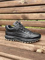 Мужские кожаные кросовки черные