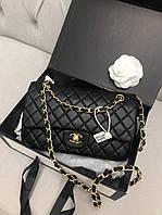 Кожаная женская сумка клатч на цепочке Chanel 2.55 Шанель 25см. Фурнитура золото.