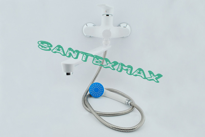 Смеситель для ванной комнаты с поворотным гусаком из термопластика Plamix Oscar 006-1 euro White NEW