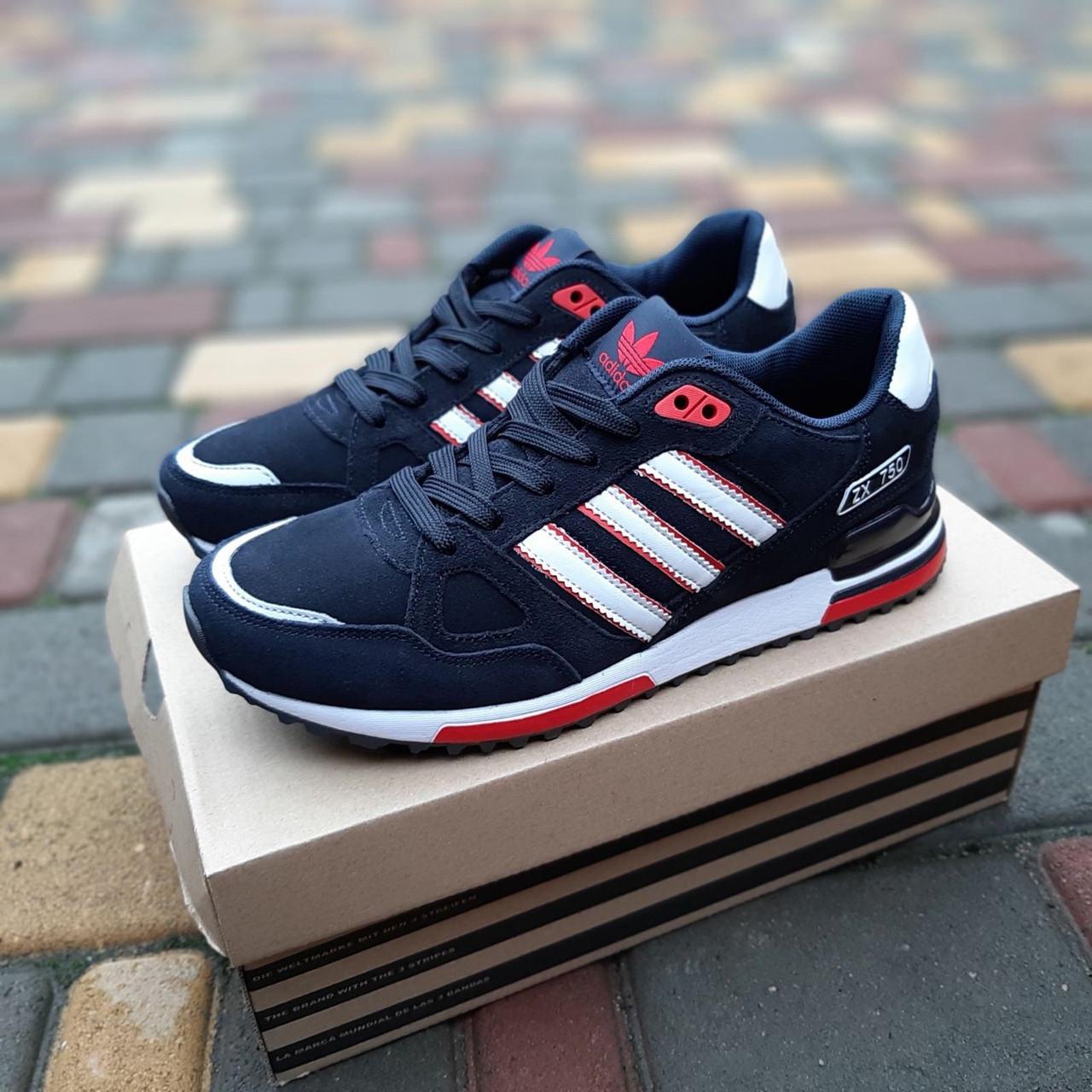 Мужские кроссовки Adidas ZX 750 (синие с красным) 10323