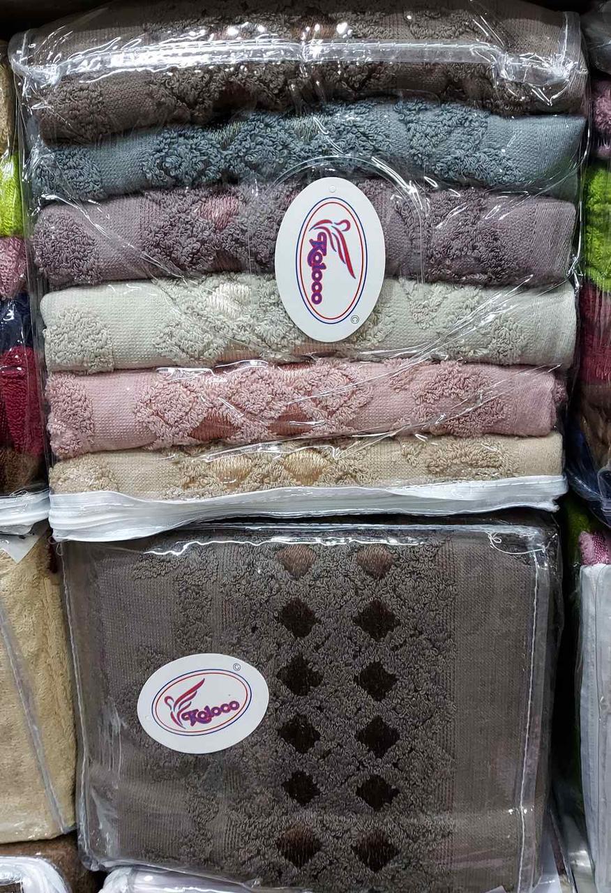 Махровые лицевые полотенца «Vip Cotton Ромбики» (6 шт)