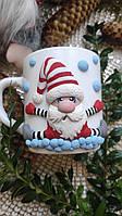 Сувенирная Чашка с декоративной лепкой ручной работы тема Новый год