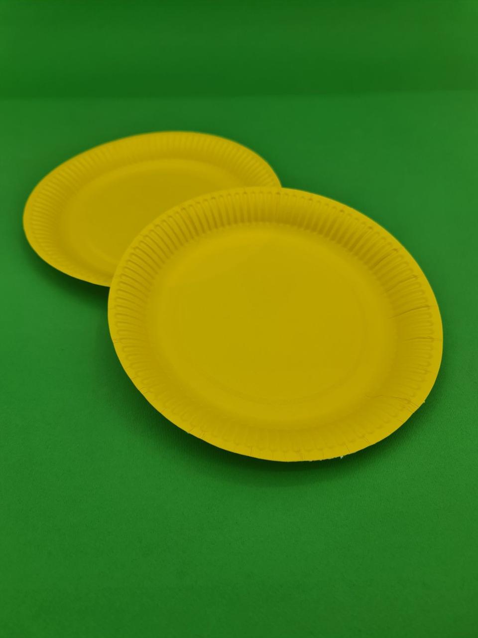 Тарелка бумажная  18см Желтая 50шт (1 пач)