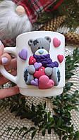 Красивая Чашка с декоративной лепкой ручной работы тема МИШКИ