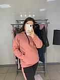 Женский костюм толстовка худи + штаны с лампасами на меху, фото 5