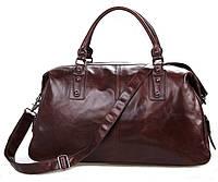 Дорожная кожаная сумка коричневая