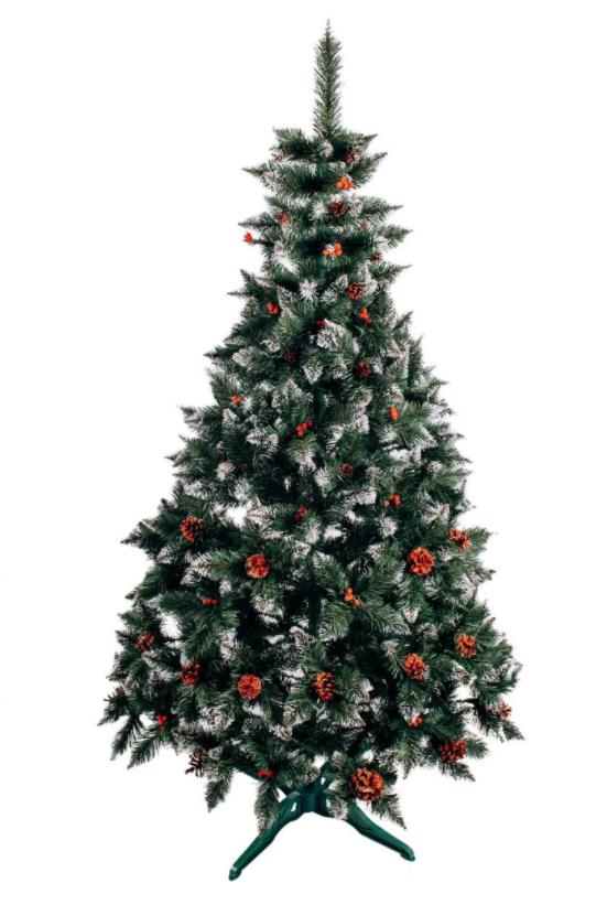 Ель искусственная Рождественская Элитная 2.00 м калина красная с шишками