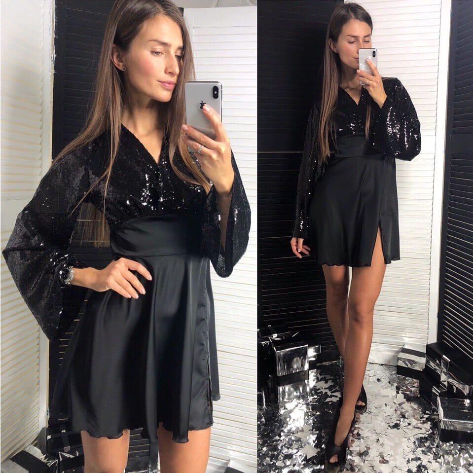 Вечернее платье с паетками. Размер: S-M. Цвет: черный  (727)