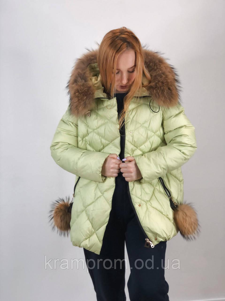 Тёплая зимняя женская куртка с натуральным мехом