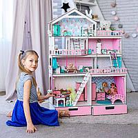 Кукольный домик Rimos Большой Особняк для кукол LOL (ЛОЛ) 114х84х33 см розовый + мебель 8 единиц в Подарок!!!