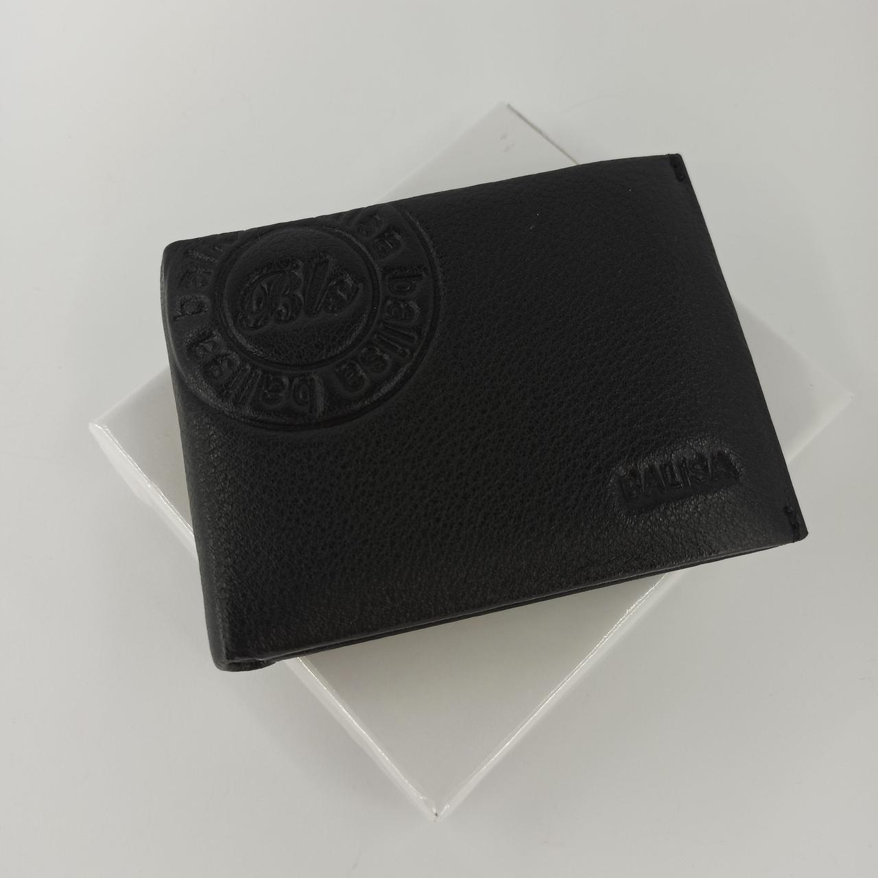 Черный кожаный мужской кошелек портмоне с зажимом для денег Balisa PY-008-108