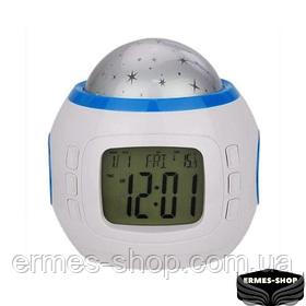 Настольные часы проектор звездного неба YUHAI | Ночник с часами