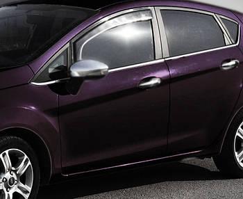 Ford Fiesta 2008-2017 гг. Молдинг стекла (8 шт, нерж.) OmsaLine - Итальянская нержавейка