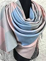Турецкий зимний розово-голубой палантин в крупную клетку с бахромой (цв.12), фото 1
