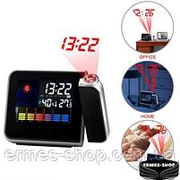 Домашня метеостанція з годинником і проектором часу Color Screen Calendar, фото 2