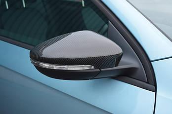 Volkswagen Beetle 2013↗ гг. Накладки на зеркала (2 шт, натуральный карбон)