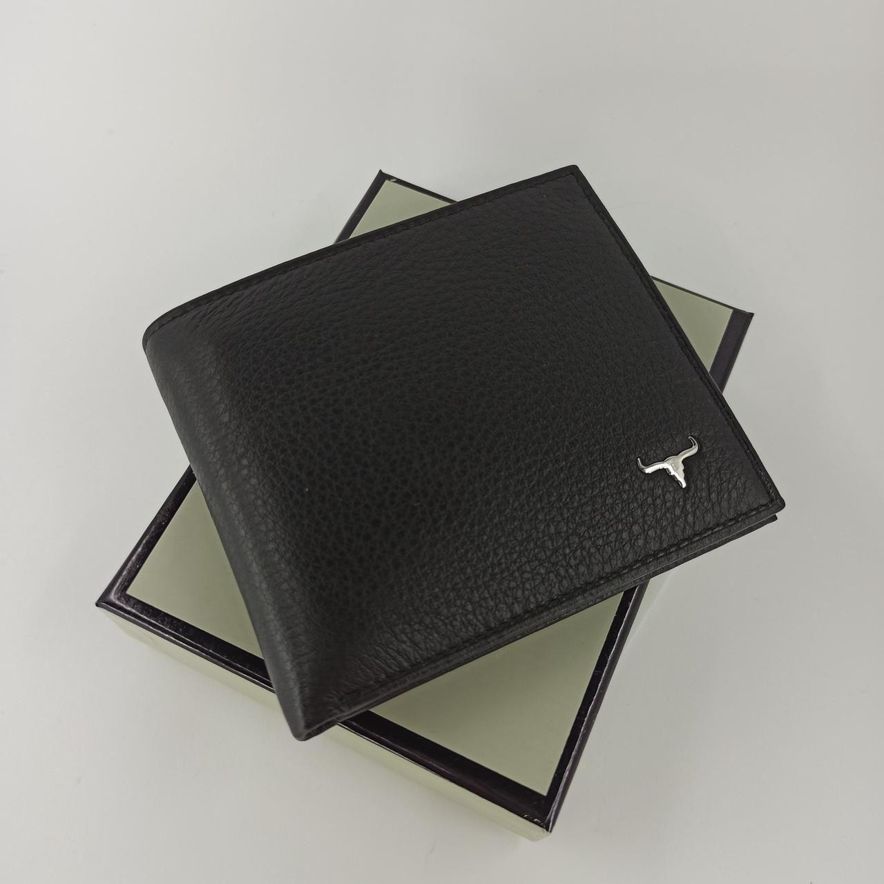 Черный кожаный мужской кошелек портмоне с зажимом для денег Balisa  BA4-10