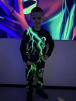 Детский светящийся костюм унисекс Brawl Stars Leon ( Бравл Старс Леон) зелёная молния +