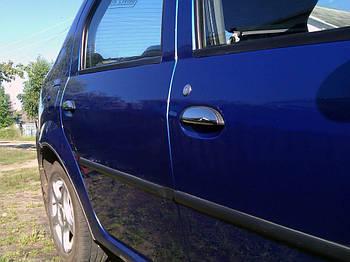 Dacia Logan II 2008-2013 гг. Накладки на ручки (4 шт., нерж.) Carmos - Турецкая сталь