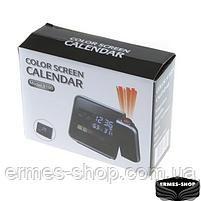 Домашня метеостанція з годинником і проектором часу Color Screen Calendar, фото 8