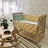 Комплект постелі в дитячу ліжечко, РІЗНІ КОЛЬОРИ (простирадло, борти)