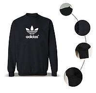 Зимний теплый черный мужской свитшот на флисе, толстовка, свитшот Adidas, реплика