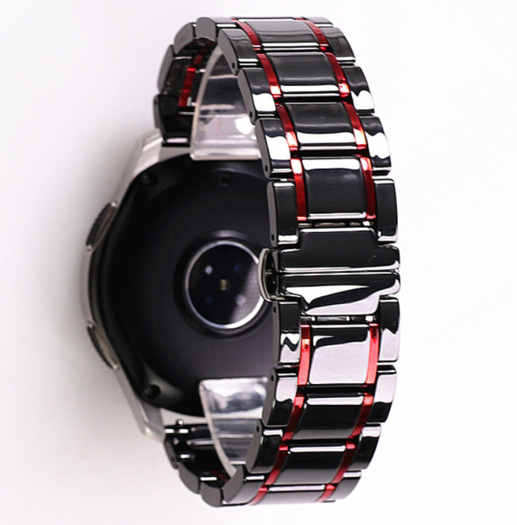 Браслет для часов керамический. Черный с красными вставками. 22 мм