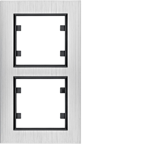 Рамка 2Х вертикальная Lumina-Passion серебряный алюминий