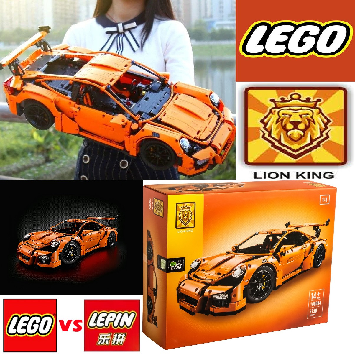 Конструктор Lego (Lepin, Lion King) Porshe 911 GT3 RS. Улучшенная версия. Большой конструктор 2758 деталей.