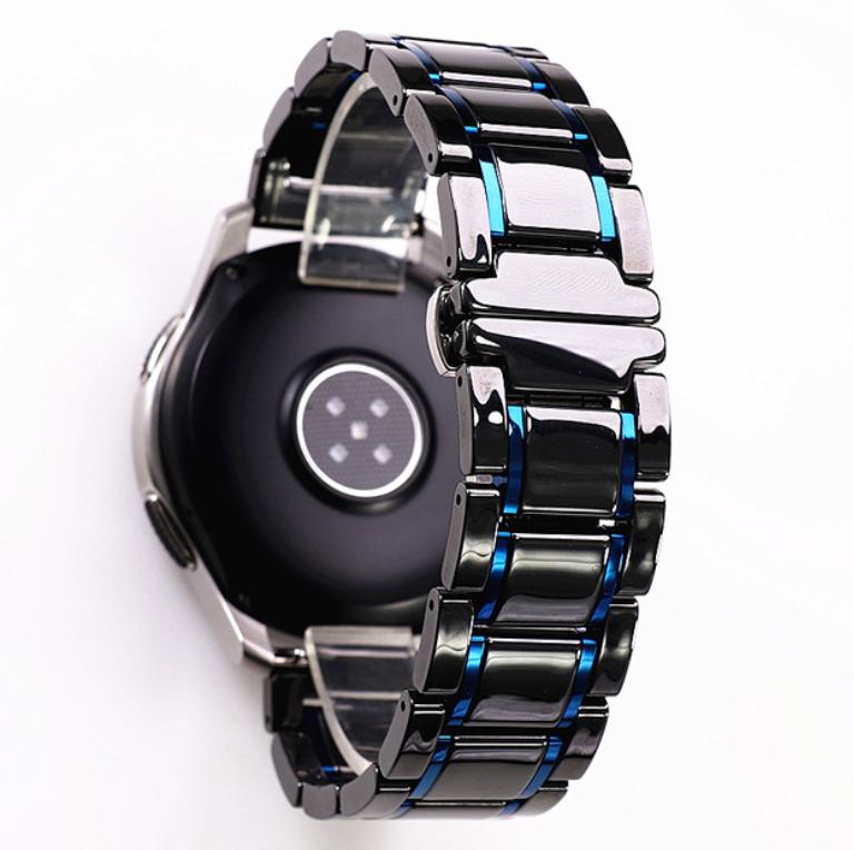 Браслет для часов керамический. Черный с синими вставками. 22 мм