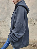 Модное женское теплое худи, туника, платье-свитшот с длинными рукавами