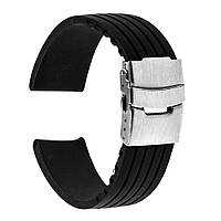 Каучуковый ремешок для часов. Черный. 24 мм, фото 1