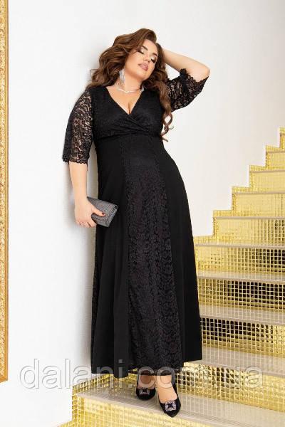 Вечернее черное платье макси с гипюром