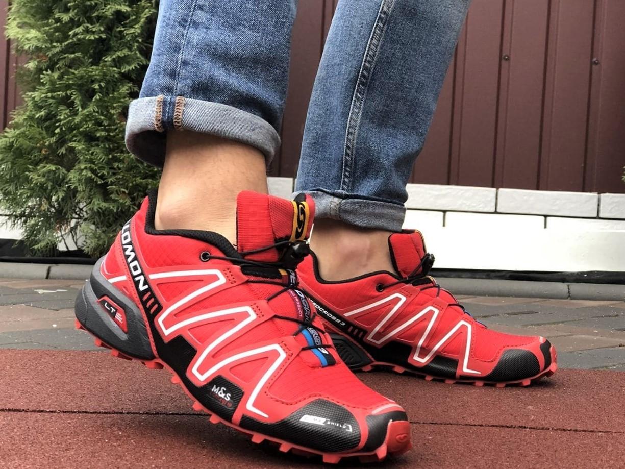 Salomon Speedcross 3 демисезонные мужские кроссовки в стиле Саломон красные