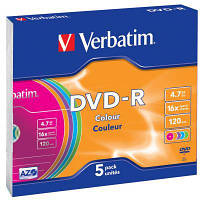 Диск DVD Verbatim 4.7Gb 16X Slim case 5 шт Color (43557)