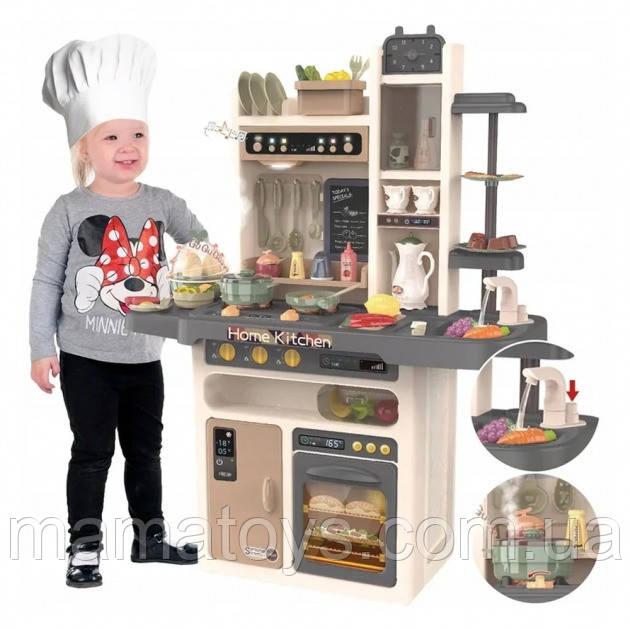 Дитяча ігрова Кухня 889-211 з Водою і пором, Сіра 93,5 см Звук, світло, 65 предметів, овочі на липучках