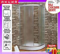 Душевая кабина 90x90 см с мелким поддоном Keramac 8120 стекло Fabric профиль белый