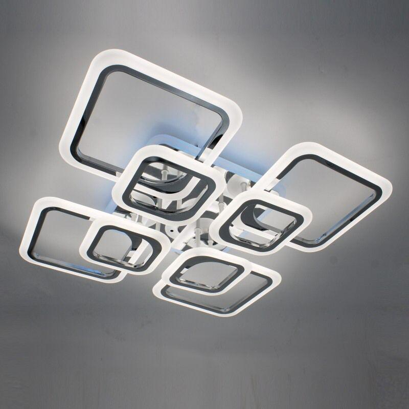 Люстра светодиодная квадратная 1127/4+4HR Люстра с пультом управления