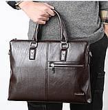 Качественная коричневая большая мужская сумка, фото 3