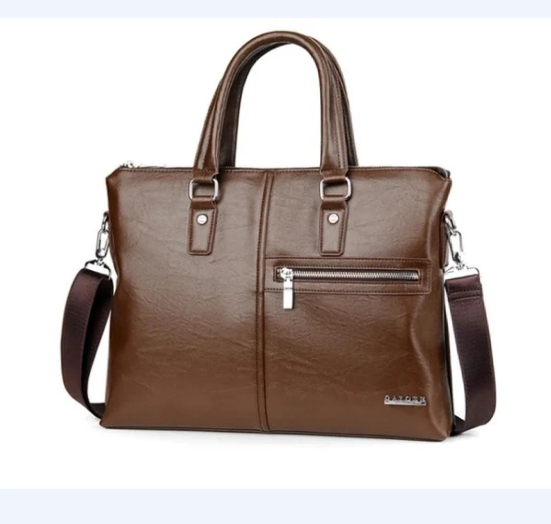 Качественная коричневая большая мужская сумка