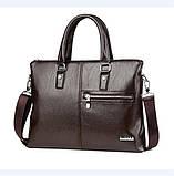 Качественная коричневая большая мужская сумка, фото 5