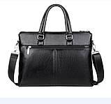 Качественная коричневая большая мужская сумка, фото 6