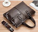 Качественная коричневая большая мужская сумка, фото 7