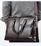 Качественная коричневая большая мужская сумка, фото 8