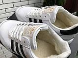 Подростковые зимние кроссовки Adidas Iniki ботинки на меху белые зимние в стиле Адидас, фото 5