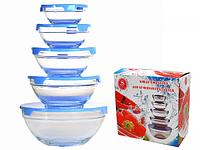 Набор ёмкостей для хранения продуктов, стекло (120,250,370,520,1100 мл.)